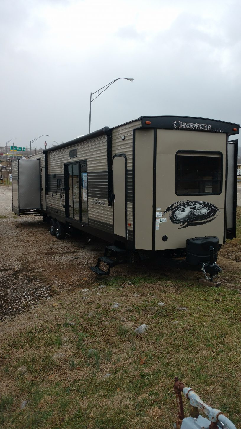cherokee 39kr park model bunk house with outside kitchen pkb rvs